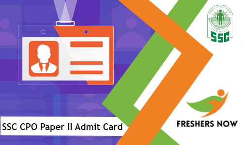 SSC CPO Paper II Admit Card