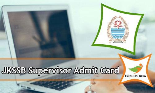 JKSSB Supervisor Admit Card