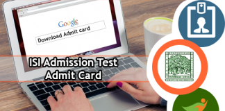 ISI Admission Test Admit Card