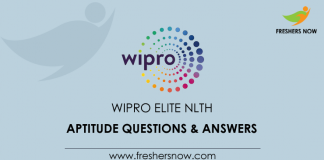 Wipro Elite NLTH Aptitude Questions and Answers