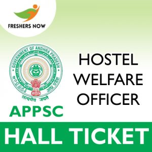 APPSC Hostel Welfare Officer Hall Ticket 2019