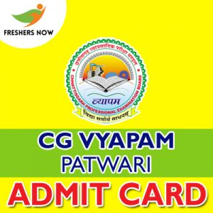 CG Vyapam Patwari Admit Card 2019