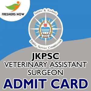 JKPSC Veterinary Assistant Surgeon Admit Card 2019