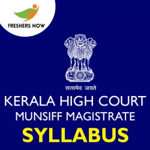 Kerala High Court Munsiff Magistrate Syllabus 2019