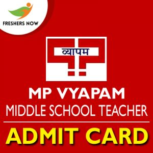 MP Vyapam Middle School Teacher Admit Card 2019