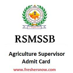 RSMSSB Agriculture Supervisor Admit Card 2019