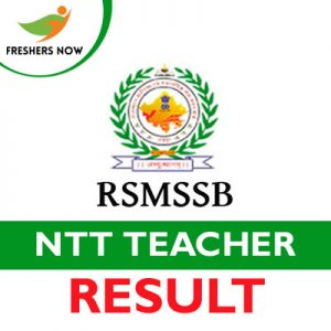RSMSSB NTT Teacher Result 2019