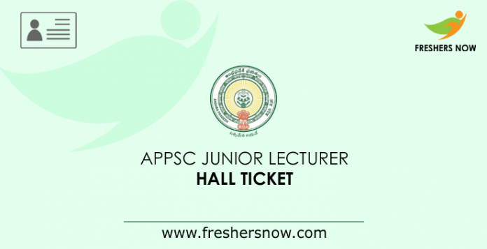 APPSC Junior Lecturer Hall Ticket 2019