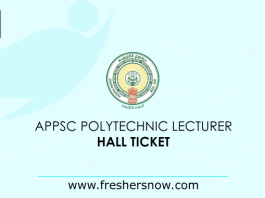 APPSC Polytechnic Lecturer Hall Ticket 2019