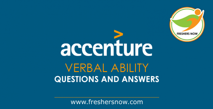 Accenture Verbal Ability Questions and Answers