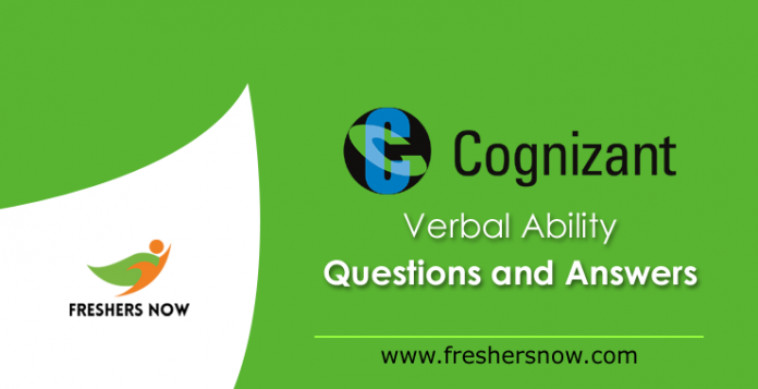 Cognizant Verbal Ability Questions and Answers