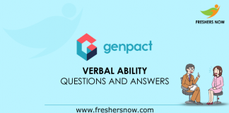 Genpact Verbal Ability Questions and Answers