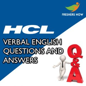 HCL Verbal Ability Questions and Answers