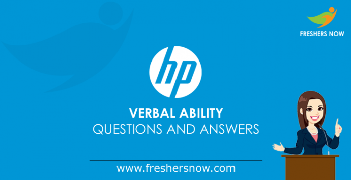 HP Verbal Ability Questions and Answers