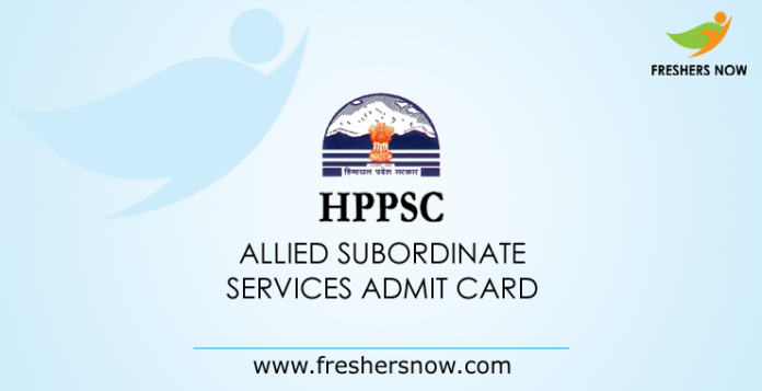 HPPSC Allied Subordinate Services Admit Card 2019