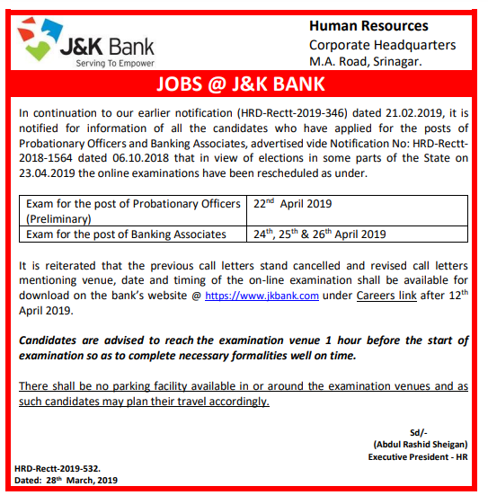 JK Bank Notice