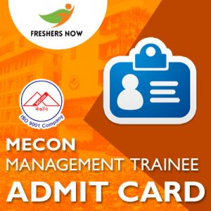 MECON Management Trainee Admit Card 2019