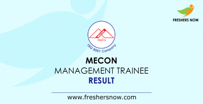 MECON Management Trainee Result 2019
