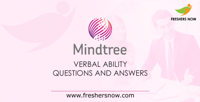 Mindtree Verbal Ability Questions and Answers