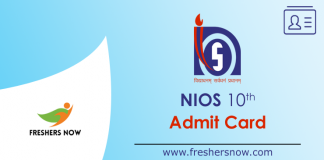 NIOS 10th Admit Card 2019