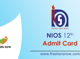 NIOS 12th Admit Card 2019