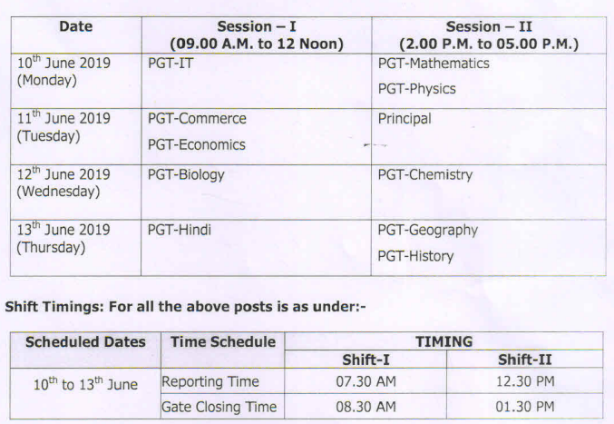 NVS PGT, Principal Exam Dates