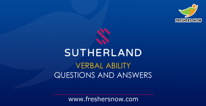 Sutherland Verbal Ability Questions and Answers