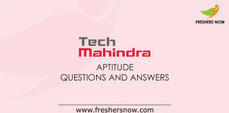 Tech Mahindra Aptitude Questions and Answers