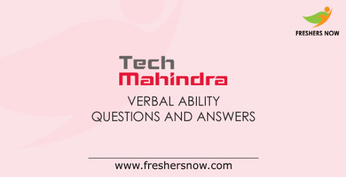 Tech Mahindra Verbal Ability Questions and Answers