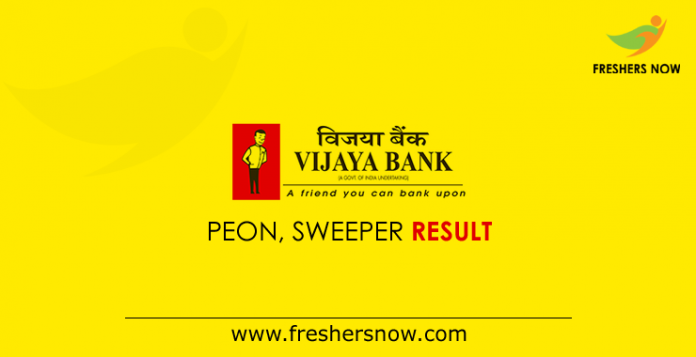 Vijaya Bank Peon, Sweeper Result 2019 - Cut Off Marks, Merit List