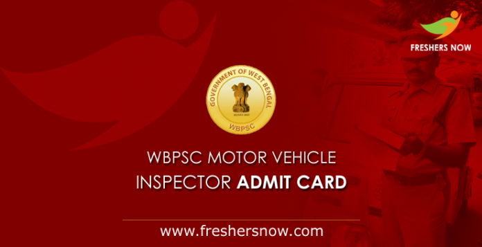 WBPSC Motor Vehicle Inspector Admit Card 2019