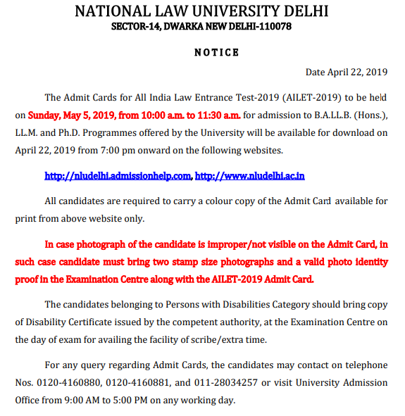 AILET Admit Card Notice