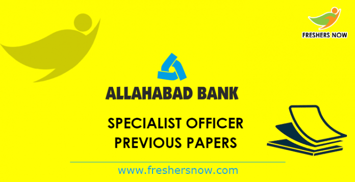 Allahabad Bank Specialist Officer Previous Papers