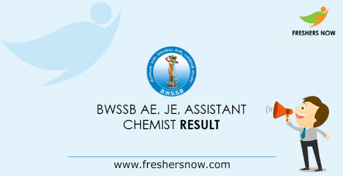 BWSSB AE, JE, Assistant, Chemist Result 2019