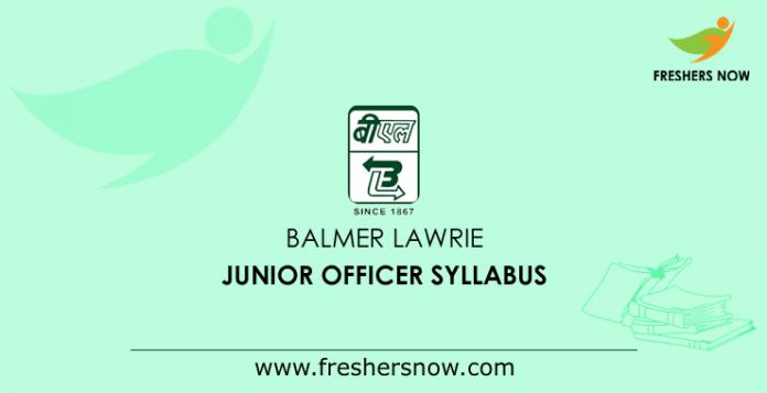 Balmer Lawrie Junior Officer Syllabus
