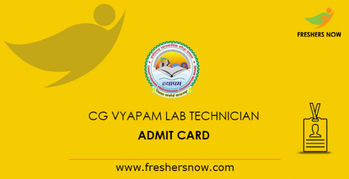 CG Vyapam Lab Technician Admit Card 2019