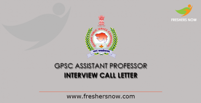 GPSC Assistant Professor Interview Call Letter 2019