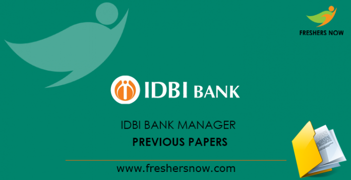 IDBI Bank Manager Previous Papers