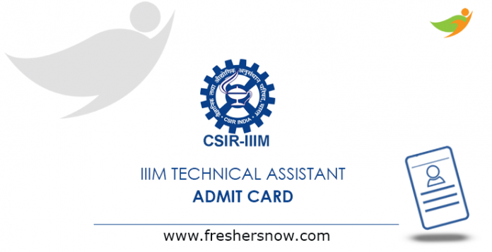 IIIM Technical Assistant Admit Card