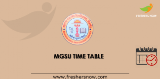 MGSU Time Table 2019