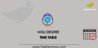 MGU Degree Time Table 2019