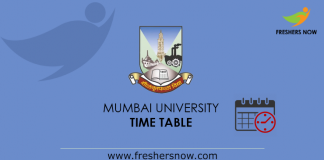Mumbai University Time Table 2019