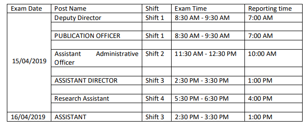 NIPCCD Exam Schedule