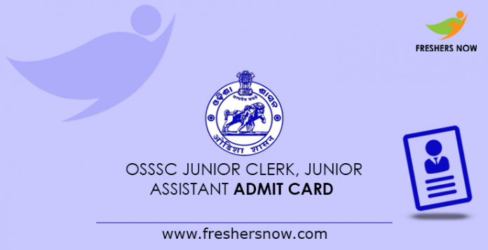 OSSSC Junior Clerk, Junior Assistant Admit Card 2019