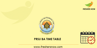 PRSU BA Time Table 2019
