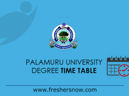 Palamuru University Degree Time Table 2019