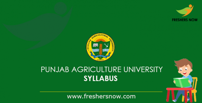 Punjab Agriculture University Syllabus 2019
