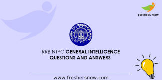 RRB NTPC General Intelligence Questions and Answers