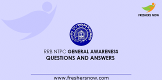 RRB NTPC General Awareness Questions And Answers