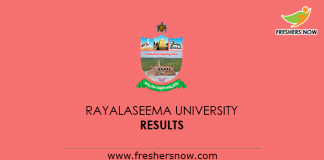 Rayalaseema University Results 2019